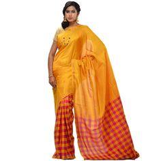 Yellow Uppada Silk Handloom Saree with Checks Pallu Design u1100