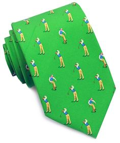 """Let the """"bird"""" dog eat! Here's a whimsical Bird Dog Bay twist on the typical golf swing tie. Be sure not to miss our little disgruntled golfer breaking his Callaway over his knee. Designs are hand-printed on 18 momme, 100% silk, and constructed by hand.         Made by Bird Dog Bay     Available in Green, Coral and Navy"""