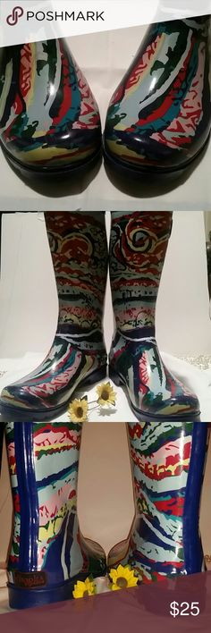 ***CHOOKA*** RAINBOOTS!!! These Super Colorful Tall Rainboots  are Fun AND Keep you dry to up over your calves!  Round toe, adjustable slide buckle at top. Used several times, a few light scuffs on top front of toe and side.... not even noticeable, blends in with pattern! Lots of life left! Please ask with any questions or concerns. Chooka Shoes Winter & Rain Boots