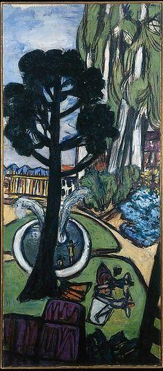 West Park  Artist:Max Beckmann (German, Leipzig 1884–1950 New York) Date:1950 Medium:Oil on canvas Dimensions:54 7/8 × 24 in. (139.4 × 61 cm)