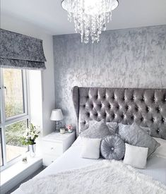 new ideas silver wallpaper bedroom home decor Silver And Grey Bedroom, Bedroom Inspo Grey, Modern Grey Bedroom, Glam Bedroom, Modern Bedroom Design, Trendy Bedroom, Contemporary Bedroom, Home Decor Bedroom, Master Bedroom
