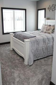 Plush gray bedroom rug Your sleeping quarters flooring can be important. Dark Grey Carpet Bedroom, Bedroom Carpet Colors, Light Gray Bedroom, Bedroom Colour Palette, Yellow Carpet, Brown Carpet, Gray Carpet, Wall Carpet, You Wake Up
