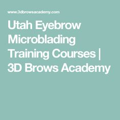Utah Eyebrow Microblading Training Courses | 3D Brows Academy