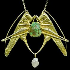 MAURICE-PIERRE-ANDRE DAURAT art nouveau pendant: grasshopper: gilded silver, turquoise, pearl, French 1910