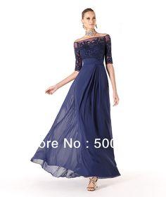 glamoroso 2014 azul marino bateau cuentas imperio tres cuartas partes del tobillo longitud vestidos en de en Aliexpress.com