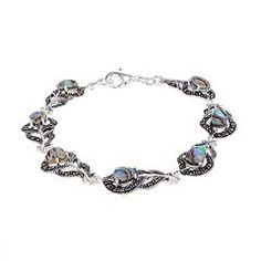 Abalone & Marcasite Silver-Plated Peacock Feather Bracelet