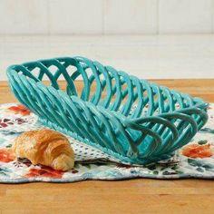 Pioneer Woman bread basket, teal