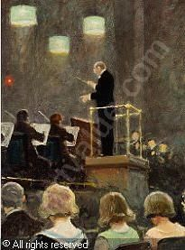 Paul Gustave Fischer (1860-1934): Emil Reesen dirigerer Radioorkesteret, 1929