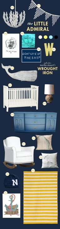 modern nautical nursery. Navy with Kelly green for a boy or Navy with Coral Pink for a girl