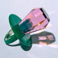 Precious pacifier #gem #jewel #pink #green - Carefully selected by GORGONIA www.gorgonia.it