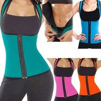 Wish | 2017 hot zipper Women Sweat Enhancing Waist Training Corset Waist Trainer Sauna Suit Hot Shaper Sport Vest