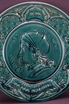 Saint Joan of Arc Ducky Blue Majolica Wall Plate Paris – Charmantiques Saint Joan Of Arc, St Joan, Plates On Wall, French Antiques, Saints, Decorative Plates, Paris, Blue, The 100