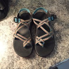 Chaco Double strap - perfect for spring and summer! I've worn them a few times - very good condition. Colors are blue, yellow, pink, green, and orange. Chacos Shoes Sandals