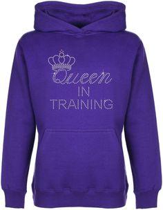 Queen in Training Rhinestone embellished Kid's Hoodie Sweat Shirt Gift for Girls #GuildenFDMFruitOfTheLoomorequivalent #Hoodie
