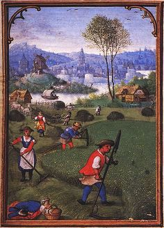1st half of the 16th cent.Labors of the Months:July, from a Flemish Book of Hours (Bruges) München, StB,cod.lat.23638, fol.8v. Simon Bening (c.1483/84-1561)