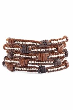 Chan Luu Silver Wrap Bracelet on Knotted Brown Mix Two Tone Leather
