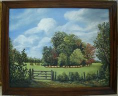 Fence and Pasture original painting landscape by MARVINSTUDIO, $80.00 Great for Christmas