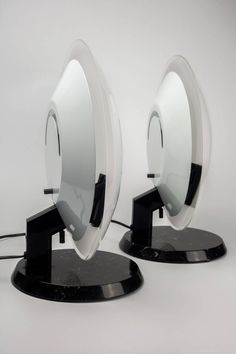 Italian Lamps Perla by Gecchelin for O Luce, Black Marble and White Glass, 1980s | From a unique collection of antique and modern table lamps at https://www.1stdibs.com/furniture/lighting/table-lamps/