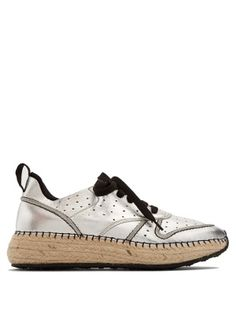 Leather and espadrille-sole trainers | Tod's | MATCHESFASHION.COM US
