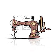 Illustration about Sewing machine retro sketch for your design, vector illustration. Illustration of cartoon, cute, pattern - 47613026 Sewing Machine Tattoo, Sewing Machine Drawing, Sewing Art, Sewing Rooms, Sewing Patterns, Fond Design, Craft Room Signs, Quilting Tools, Vintage Sewing Machines