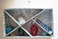 Making a decorative shadow box is as easy as collecting some corrugated cardboard. Learn how to make a shadow box to store all your trinkets and items. Old Glass Bottles, Glass Bottle Crafts, Sea Glass Crafts, Recycled Cds, Upcycled Crafts, Diy Crafts, Repurposed, Toilet Paper Roll Crafts, Cardboard Crafts