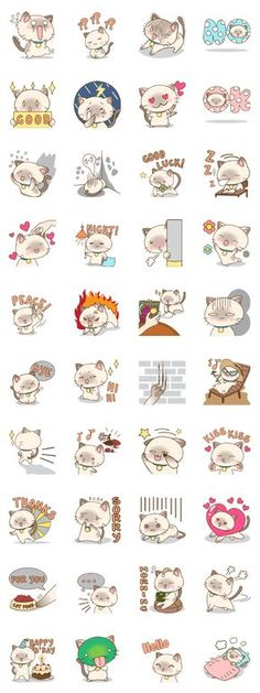 This is an adorable siamese cat sticker pack. Your chat in LINE will be even more amazing