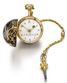 A MOILLIET & CIE: A YELLOW GOLD AND ENAMEL BALL-FORM VERGE WATCH CIRCA 1790, DIAMETER 24 mm, 1/2
