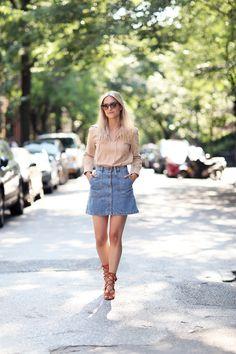 Chloe suede top SS15 // Zara Denim skirt // Chloe gladiator sandals | THE FASHION GUITAR