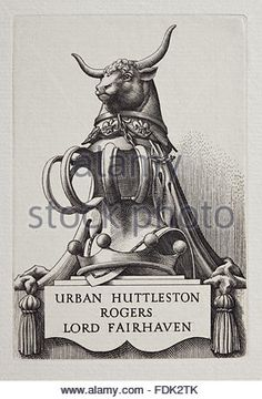 Bookplate of Urban Huttleston Rogers, Lord Fairhaven, part of the library collection at Anglesey Abbey, Cambridgeshire. - Stock Image