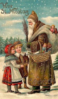 Old Christmas Post Сards — Santa Claus  (636x1084)