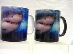 This is a color changing coffee mug, its a dark color when cool. Add a warm drink into it and watch as the black coating vanishes to reveal the attacking great white shark on it! as long as the mug is warm the picture of the attacking great white shark shows, after the cup cools down it goes back to the dark color until refilled with another war...