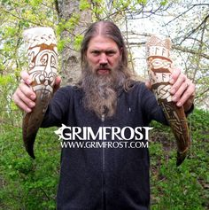 Johan Hegg promoting drinking horns from Grimfrost Viking Culture, Celtic Culture, Viking Drinking Horn, Viking Metal, Amon Amarth, Man Cave Bar, Heavy Metal Music, Rockn Roll, Norse Mythology
