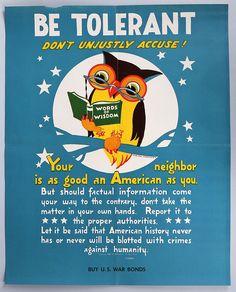 Vintage 1942 World War II U.S. Bonds Poster Be Tolerant Wise Old Owl Very Rare | eBay