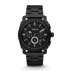 Fossil Watch, Men's Chronograph Machine Gray Plated Stainless Steel Bracelet - Men's Watches - Jewelry & Watches - Macy's - waterproof watches for men, mens hand watch, black watch mens *ad Herren Chronograph, Fossil Watches For Men, Best Watches For Men, Cool Watches, Sport Watches, Men's Watches, Dress Watches, Silver Watches, Shopping