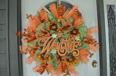Fall Welcome Deco Mesh Wreath Autumn Wreath by BlossomShopWreaths