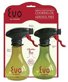 Evo Kitchen and Grill Olive Oil and Cooking Oil Trigger Sprayer Bottle, Refillable, Non-Aerosol, 8-Ounce Capacity, Set of 2 Delta http://smile.amazon.com/dp/B00ORXO9TO/ref=cm_sw_r_pi_dp_YPXBwb1V95S8J