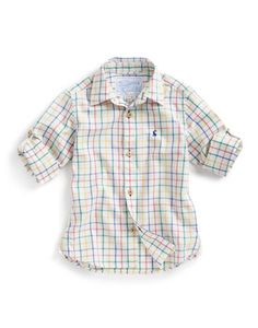 Joules JNR HERBIE Boys Short Sleeve Shirt, Cremeck. In soft brushed cotton this classic shirt is a sure-fire winner come birthday parties, evenings out or simply when a little smartness is required.