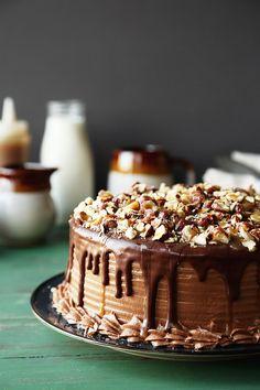 Chocolate Butterscotch Hazelnut Cake - The Candid Appetite