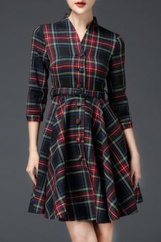 0e3bb59d69c7 Vintage Mandarin Collar 3/4 Sleeve Single-Breasted Gingham Women's Dress
