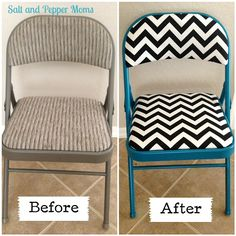 Folding Chair Makeover @Jennifer Milsaps L P  I was thinking you could redo a chair for Jerry. You know how he always carries one around. It would be nice if it was at least a cute one...maybe some musical pattern or something