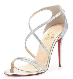 Friday Fix | Christian Louboutin Gwynitta Glitter Open-Toed Sandals >> Shoeperwoman