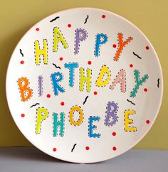 Custom Personalized HandPainted Baby Birthday Plate by susaneslick