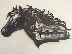 Rustic Western Horse Metal Wall Art Galloping Horse Cowboy Evergreen Wall Decor for sale online Wood Yard Art, Wood Art, Metal Walls, Metal Wall Art, Plasma Cutter Art, Laser Art, Metal Art Projects, Horseshoe Crafts, Horse Silhouette