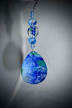 Blue Agate, Ceiling Fan Pull, Crystal and Glass, Lampwork Glass, Meditation Decor, Blue Gifts, Promo Code, Ready To Ship by EarthDreamsbySunLi on Etsy