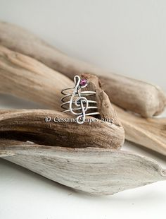 Treble clef ring music sterling silver oxidized with semi precious birthstone