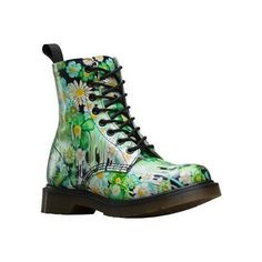 Women's Dr. Martens Slime Floral Pascal 8-Eye Boot - Green Paint Slick... ($150) ❤ liked on Polyvore featuring shoes, boots, casual, leather boots, combat booties, genuine leather boots, real leather combat boots, floral boots and green military boots