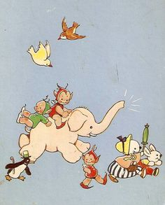 Mabel Lucie Attwell illustration. Ms Attwell's famous pixies made famous in the 1940s.
