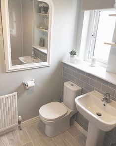 Amazing Small Bathrooms In Small Apartment Ideas smallbathroom bathroomdesign bathroomideas ~ Beautiful House 747527238131770424 Upstairs Bathrooms, Downstairs Bathroom, White Bathroom, Family Bathroom, Modern Bathroom, Lavender Bathroom, Bathroom Wall, Small Downstairs Toilet, Small Toilet Room