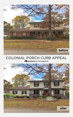 Updating a dated colonial exterior home and garden ideas - Colonial house exterior renovation ideas ...