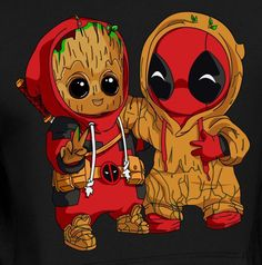 [as Deadpool] & Deadpool [as Baby Groot] (Drawing by Unknown) -Baby Groot [as Deadpool] & Deadpool [as Baby Groot] (Drawing by Unknown) - Cute Disney Drawings, Cute Animal Drawings, Kawaii Drawings, Cute Drawings, Drawing Animals, Deadpool Wallpaper, Avengers Wallpaper, Nike Wallpaper, Cute Disney Wallpaper